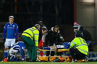 Andrew Cannon of Rochdale is put on a stretcher after collision with Jack Sowerby of Fleetwood Town during the Sky Bet League 1 match between Rochdale and Fleetwood Town at Spotland Stadium, Rochdale, England on 20 March 2018. Photo by Thomas Gadd.