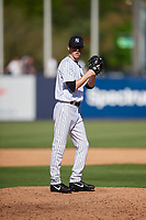 New York Yankees relief pitcher Phillip Diehl (82) gets ready to deliver a pitch during a Grapefruit League Spring Training game against the Toronto Blue Jays on February 25, 2019 at George M. Steinbrenner Field in Tampa, Florida.  Yankees defeated the Blue Jays 3-0.  (Mike Janes/Four Seam Images)