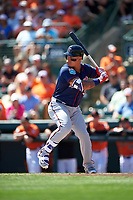 Minnesota Twins left fielder Oswaldo Arcia (31) at bat during a Spring Training game against the Baltimore Orioles on March 7, 2016 at Ed Smith Stadium in Sarasota, Florida.  Minnesota defeated Baltimore 3-0.  (Mike Janes/Four Seam Images)