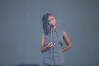 Kelela performs on the main stage of the Festival d'ete de Quebec (FEQ) in Quebec city Saturday July 15, 2017.