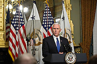 United States Vice President Mike Pence speaks before swearing in U.S. Secretary of Education Betsy DeVos, not pictured, in the Vice President's Ceremonial Office in Washington, D.C., U.S., on Tuesday, Feb. 7, 2017. DeVos squeaked through a history-making Senate confirmation vote to become U.S. education secretary, as Vice President Mike Pence broke a 50-50 tie and Republicans staved off last-minute defections that would have killed her nomination. Photo Credit: Andrew Harrer/CNP/AdMedia