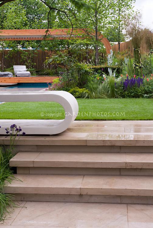 Steps, Patio, Fence, Lawn, Garden Beds, Sky, Garden Bench,
