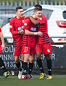 Queen's Park Blair Spittal's is congratulated after his cross / shot hits the back of the net for their late equaliser.