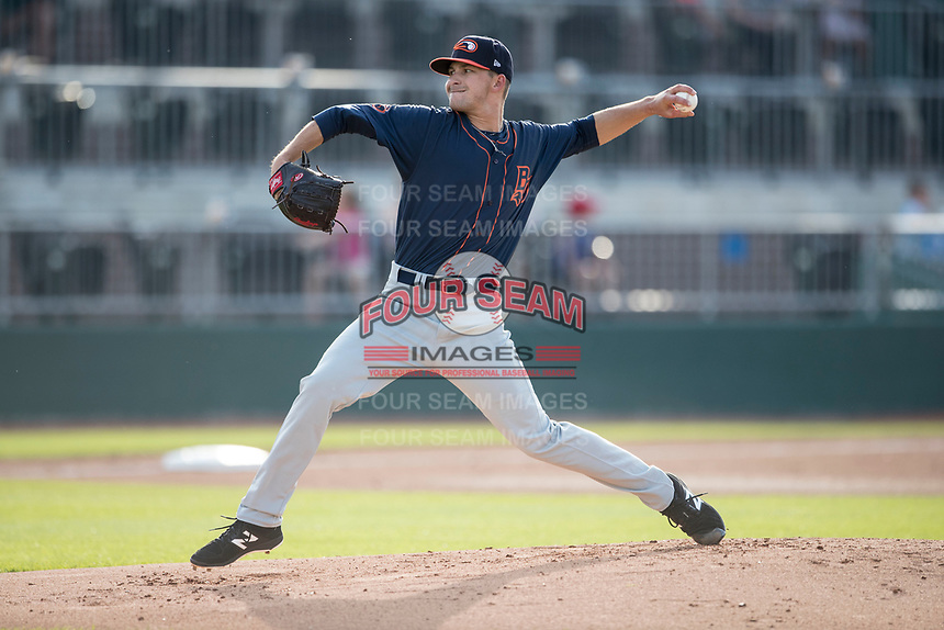 Bowling Green Hot Rods pitcher Greg Maisto (27) delivers a pitch to the plate during the Midwest League baseball game against the Lansing Lugnuts on June 29, 2017 at Cooley Law School Stadium in Lansing, Michigan. Bowling Green defeated Lansing 11-9 in 10 innings. (Andrew Woolley/Four Seam Images)
