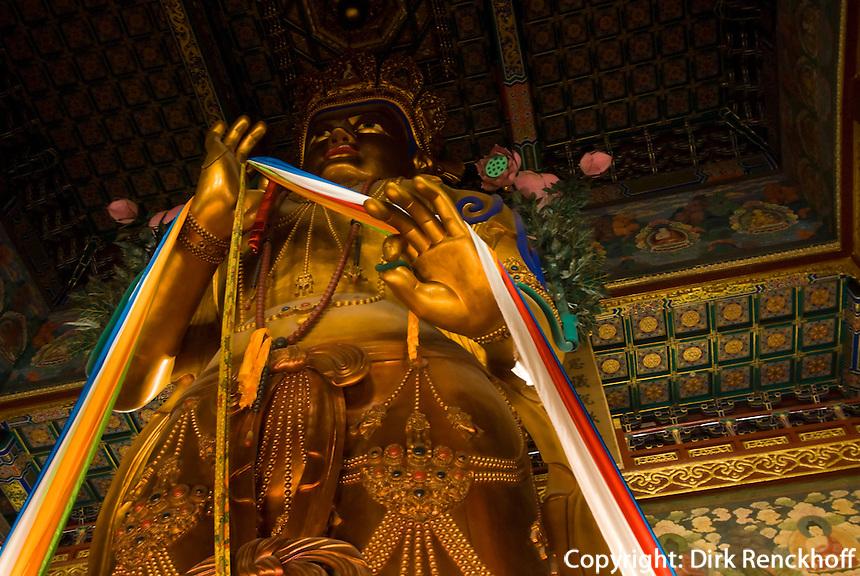 Lama-Tempel (Yonghe Gong), Letzte Halle (Wanfu Ge), Statue des Maitreya-Bodissatva aus Sandelholz, Peking (Beijing), China