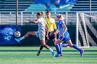Boston, MA - Sunday May 07, 2017: Jessica McDonald and Megan Oyster during a regular season National Women's Soccer League (NWSL) match between the Boston Breakers and the North Carolina Courage at Jordan Field.