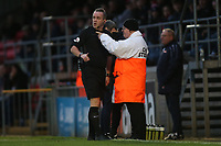 Referee Carl Brook speaks to the chief steward during Dagenham & Redbridge vs Maidenhead United, Vanarama National League Football at the Chigwell Construction Stadium on 7th December 2019