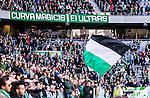 Stockholm 2014-05-04 Fotboll Superettan Hammarby IF - IFK V&auml;rnamo :  <br /> Hammarby supportrar med en flagga<br /> (Foto: Kenta J&ouml;nsson) Nyckelord:  Superettan Tele2 Arena Hammarby HIF Bajen V&auml;rnamo  supporter fans publik supporters