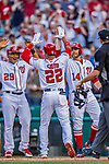 21 May 2018: Washington Nationals outfielder Juan Soto, making his first Major League start, comes home to score after getting his first career hit: a 3-run homer on the first pitch he faced by the San Diego Padres pitching at Nationals Park in Washington, DC. The Nationals defeated the Padres 10-2, taking the first game of their 3-game series. Mandatory Credit: Ed Wolfstein Photo *** RAW (NEF) Image File Available ***