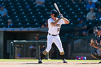 Surprise Saguaros left fielder Bryan Reynolds (10), of the Pittsburgh Pirates organization, at bat during an Arizona Fall League game against the Peoria Javelinas at Surprise Stadium on October 17, 2018 in Surprise, Arizona. (Zachary Lucy/Four Seam Images)