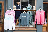 "Shirts reading ""Newport"" were on display outside Chez Shell on Thames Street in Newport, Rhode Island, on Wed., April 19, 2017."