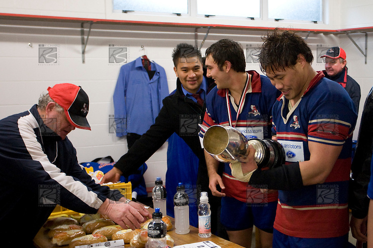 Tekori Luteru reads the names of previous Championship winners. CMRFU Counties Power 2008 Club rugby McNamara Cup Premier final between Ardmore Marist & Patumahoe played at Growers Stadium, Pukekohe on July 26th.  Ardmore Marist won 9 - 8.