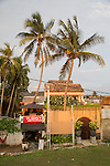 Small restaurant and palm trees in historic town of Galle, Sri Lanka, Asia