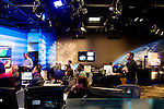 Inside of the morning meeting in the newsroom at The Weather Channel in Atlanta, Georgia May 10, 2013.