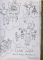 """Europe/France/Rhône-Alpes/38/Isère/ Vienne: Détail du livre d'Or  du  Restaurant """"La Pyramide"""" , 14, bd Fernand Point, à l'époque de Fernand Point dessin et autographe de Lucien Noêl, dit Noêl-Noêl acteur français"""