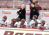 Matt Lombardi (BC - 24), Matt Price (BC - 25), Jerry York (BC - Head Coach), Barry Almeida (BC - 9), Stephen Greenberg (BC - Student Manager), Cam Atkinson (BC - 13), Brian Gibbons (BC - 17) - The Boston College Eagles defeated the Merrimack College Warriors 7-0 on Tuesday, February 23, 2010 at Conte Forum in Chestnut Hill, Massachusetts.