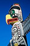 Vancouver, British Columbia<br /> Totem Pole against blue sky - Stanley Park