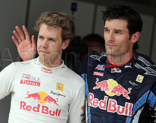 German Formula One driver Sebastian Vettel (L) and Australian driver Mark Webber, both of Red Bull, pictured after the qualifying for the Formula One Grand Prix at Istanbul Park circuit in Istanbul, Turkey, 29 May 2010. The Grand Prix of Turkey will be held on 30 May 2010, Webber will start from the pole position, Vettel from the third position.