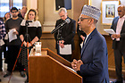 March 21, 2019; Imam Rashied Omar gives an opening prayer at a prayer service in memory of the victims of the Mar. 15 New Zealand mosque attacks. (Photo by Matt Cashore/University of Notre Dame)