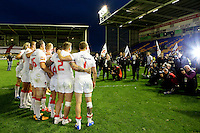 PICTURE BY ALEX WHITEHEAD/SWPIX.COM - Rugby League - International Origin Match - England vs Exiles - The Halliwell Jones Stadium, Warrington, England - 14/06/13 - England players photographed with the trophy following the win.