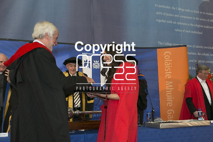 Pictured at the conferring ceremony at Mary Immaculate College Limerick were  Dr  Tania Fahey Palma  who was Presented With Her Hood & Cap by her Supervisors Dr Anne OÂ'keeffe And Prof Michael Mccarthy. Pictured Credit Brian Gavin Press 22