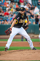 Salt Lake Bees starting pitcher Tyler DeLoach (32) delivers a pitch to the plate against the Tacoma Rainiers in Pacific Coast League action at Smith's Ballpark on September 2, 2015 in Salt Lake City, Utah. Tacoma defeated Salt Lake 13-6.  (Stephen Smith/Four Seam Images)