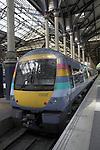 National Express train at platform Liverpool Street Station, London, England