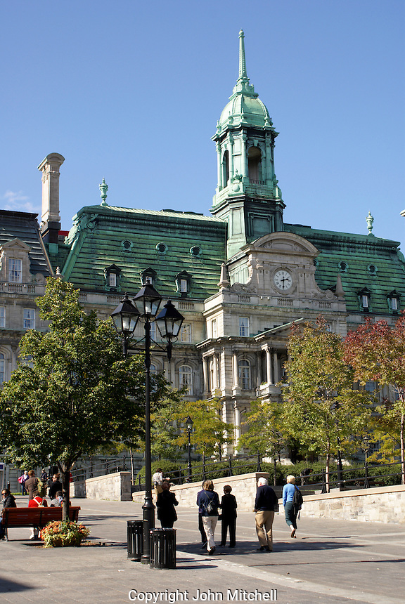 Montreal City Hall from Place Jacques Cartier, Old Montreal, Quebec, Canada