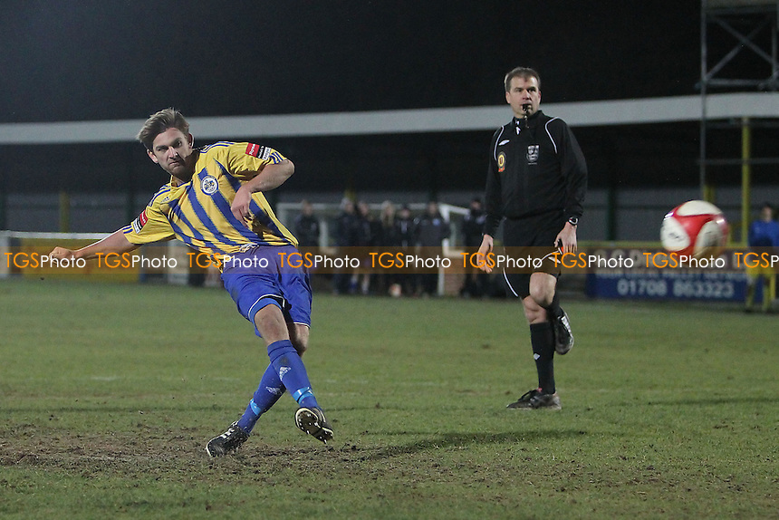 Adam Salmon scores with the eighth Romford penalty in the shoot-out - Romford vs Barking - Essex Senior Cup 4th Round Football at Ship Lane, Thurrock FC - 05/12/12 - MANDATORY CREDIT: Gavin Ellis/TGSPHOTO - Self billing applies where appropriate - 0845 094 6026 - contact@tgsphoto.co.uk - NO UNPAID USE.