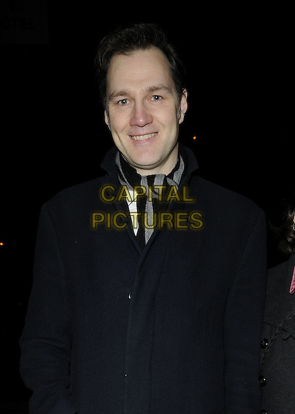 DAVID MORRISSEY.The London Evening Standard British Film Awards 2010, The Movieum of London, County Hall, London, England..February 8th 2010.half length grey gray black blue coat stripe scarf.CAP/CAN.©Can Nguyen/Capital Pictures.