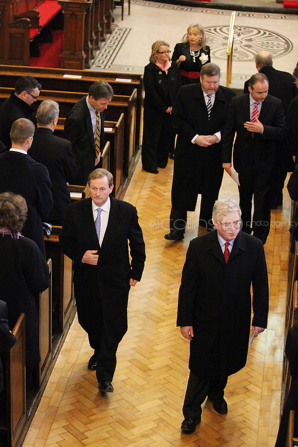 9/3/2011. An Taoiseach and Fine Gael leader Enda Kenny and Labour leader Eamon Gilmore are pictured leaving St Annes Church, Dawson St Dublin after mass with the president before attending the first day at the Dail. Picture James Horan/Collins