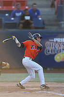 Josh Vargas (40) of the Cal State Fullerton Titans bats during a game against the Cal Poly Mustangs at Goodwin Field on April 2, 2015 in Fullerton, California. Cal Poly defeated Cal State Fullerton, 5-0. (Larry Goren/Four Seam Images)