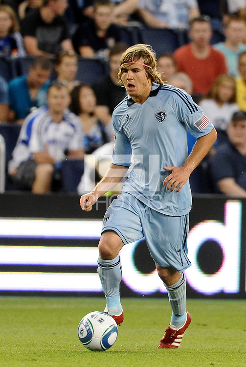 Chance Myers Sporting KC defender in action... Sporting KC defeated Vancouver Whitecaps 2-1 at LIVESTRONG Sporting Park, Kansas City, Kanas.
