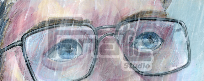 Illustration of man in glasses looking away in rainy season