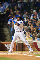 Chicago Cubs Jorge Soler (68) bats in the second inning during Game 3 of the Major League Baseball World Series against the Cleveland Indians on October 28, 2016 at Wrigley Field in Chicago, Illinois.  (Mike Janes/Four Seam Images)