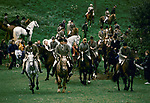 Quantock Staghounds 1990s Uk. Quantock Hills Somerset. The Off after the Lawn Meet at Bagborough House, the end of hunting season. 1997