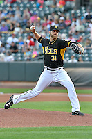 Salt Lake Bees starting pitcher A.J. Achter (31) of the Salt Lake Bees delivers a pitch to the plate against the Albuquerque Isotopes in Pacific Coast League action at Smith's Ballpark on August 30, 2016 in Salt Lake City, Utah. The Bees defeated the Isotopes 3-2. (Stephen Smith/Four Seam Images)