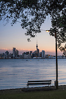 Auckland skyline at night seen from Bayswater, Auckland, New Zealand North Island