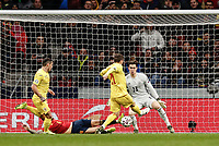 18th November 2019; Wanda Metropolitano Stadium, Madrid, Spain; European Championships 2020 Qualifier, Spain versus Romania;  Inigo Martinez (esp) blocks the attempted shot on goal from Nistor of Romania - Editorial Use