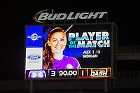 Orlando, Florida - Saturday, April 23, 2016: Orlando Pride forward Alex Morgan (13) is named Player of the Match after scoring a goal in the Pride's 3-1 victory during an NWSL match between Orlando Pride and Houston Dash at the Orlando Citrus Bowl.