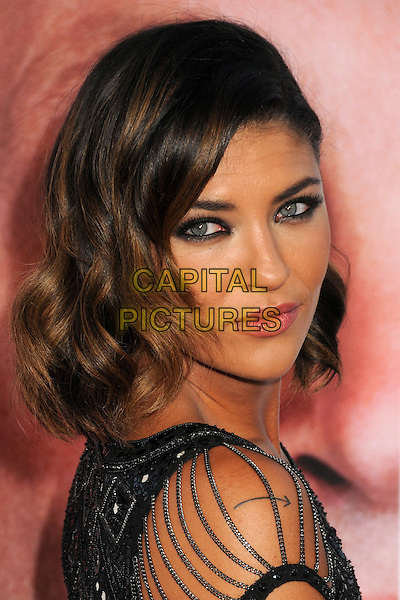 Jessica Szohr<br /> &quot;The Internship&quot; Los Angeles Premiere held at the Regency Village Theatre, Westwood, California, USA.<br /> May 29th, 2013<br /> headshot portrait black silver chains beads beaded side <br /> CAP/ADM/BP<br /> &copy;Byron Purvis/AdMedia/Capital Pictures