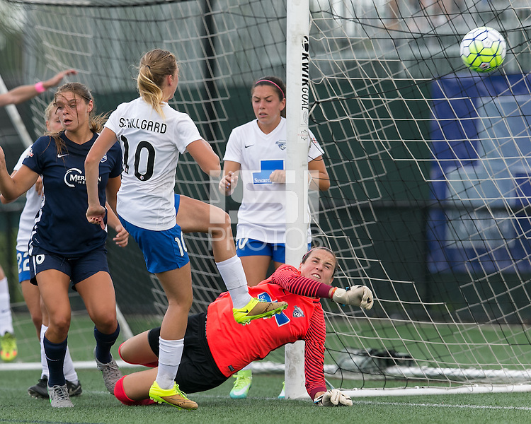 Allston, Massachusetts - July 17, 2016:  In a National Women's Soccer League (NWSL) match, Sky Blue FC (blue) defeated Boston Breakers (white/blue), 3-2, at Jordan Field.