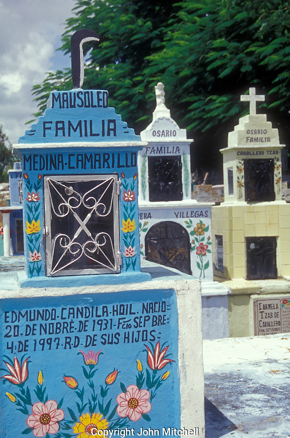 Family graves or osarios at the Cementerio Hoctun, a Mayan cemetery near Merida, Yucatan state, Mexico