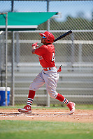 GCL Cardinals left fielder Diomedes Del Rio (44) follows through on a swing during a game against the GCL Mets on August 6, 2018 at Roger Dean Chevrolet Stadium in Jupiter, Florida.  GCL Cardinals defeated GCL Mets 6-3.  (Mike Janes/Four Seam Images)