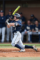 Left fielder Nico Popa (1) of the Pittsburgh Panthers bats in a game against the University of South Carolina Upstate Spartans on Saturday, February 24, 2018, at Cleveland S. Harley Park in Spartanburg, South Carolina. Pittsburgh won, 3-1. (Tom Priddy/Four Seam Images)