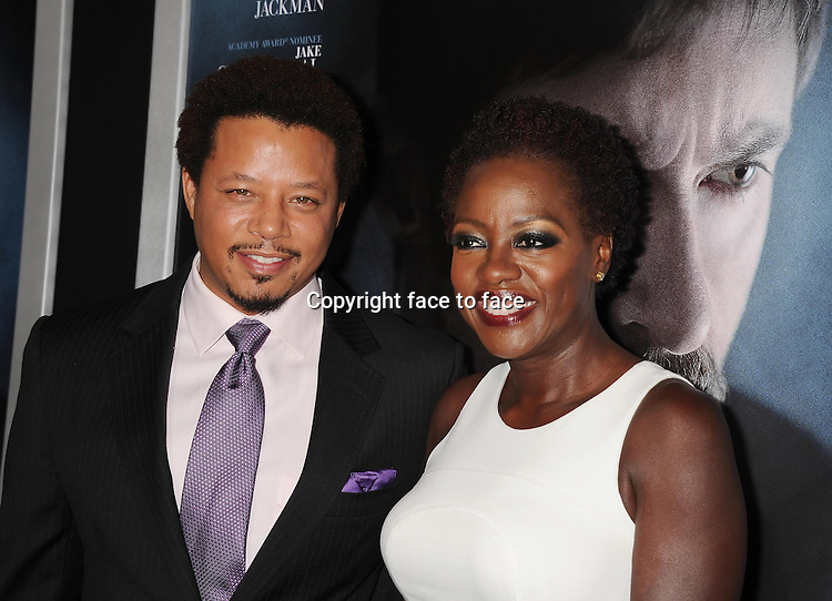 BEVERLY HILLS, CA- SEPTEMBER 12: Actors Terrence Howard (L) and Viola Davis arrive at the 'Prisoners' - Los Angeles Premiere at the Academy of Motion Picture Arts and Sciences on September 12, 2013 in Beverly Hills, California.<br />