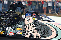 Oct 4, 2013; Mohnton, PA, USA; NHRA top fuel dragster driver Doug Kalitta during qualifying for the Auto Plus Nationals at Maple Grove Raceway. Mandatory Credit: Mark J. Rebilas-