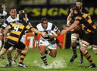 Auckland's Taniela Moa tries to run between Brett Goodin and Jason Eaton. Air New Zealand Cup rugby match - Taranaki v Auckland at Yarrows Stadium, New Plymouth, New Zealand. Friday 9 October 2009. Photo: Dave Lintott / lintottphoto.co.nz