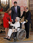 Prince Felipe of Spain and Princess Letizia of Spain with the writer Ana Maria Matute during reception at Cervantes Prize for Literature 2013.April 22 ,2013. (ALTERPHOTOS/Acero/Pool)