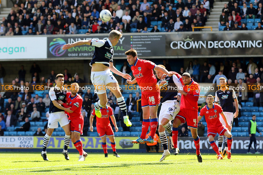 Anthony Gerrard of Oldham heads the ball away to foil a Millwall attack during Millwall vs Oldham Athletic, Sky Bet League 1 Football at The Den on 30th April 2016